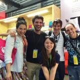 With clients during Shanghai furniture fair