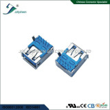 USB3.0 A/F 9P reverse right angle dip type with bended post
