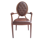 Wood Finish Aluminum Hotel Restaurant Armchair