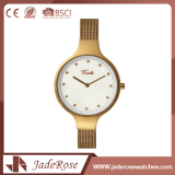 Round Dial Shape Stainless Steel Back Quartz Wrist Watch