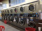 Double deck coin washer and dryer machine