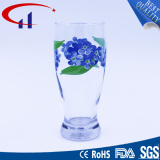 340ml Glass Water Cup with Printed Flower (CHM8023)