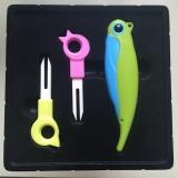3PCS Ceramic Fruit Forks with Pocket Knife Set