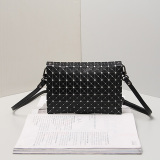 Silicone Rhombic Geometric Black and White Color Handbag