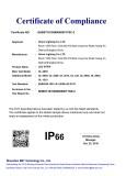 Waterproof IP66 certificate
