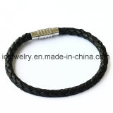 stainless steel leather men bracelet