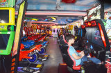 showroom-car racing game machine area