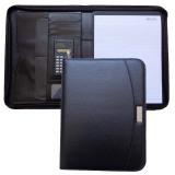 Black Zipper PU Leather Portfolio Folder with Calculator