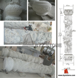 Chinese Pure White Marble Dragon Columns (Hotel Project) in USA