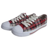 Breathable Soft Red/Beige Check Plimsoll Canvas Shoes with Rubber Toe