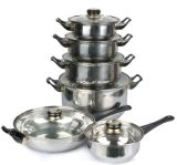 12PCS Stainless Steel Kitchenware with Glass Cover