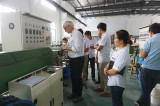 French customer visit fonming cable factory for silicone fiberglass wire