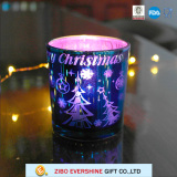 Colored Christmas Glass Candle Holder