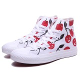 High Top Cheap Womens White/Red Cherry Print Canvas Shoes
