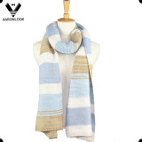 2016 New Winter Beautiful Stripe Big Womens Knit Scarf