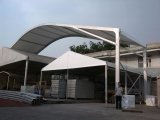 The big tent as our factory warehouse