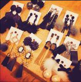 Korean ladies diamond pearl flowers tassel earrings