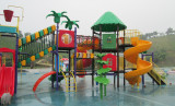 water playground with slide