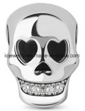 wholesale 925 Silver Skull Charm Bead With Zircon