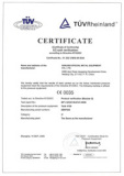 Certificate of PED for Pressure Vessel Production issued by TUV