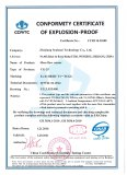 Conformity Certificate of Explosion-proof of Mass Flow Sensor