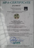 MPa Certificate - Diamond Saw Blade