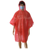 Red PE Poncho