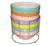 6.5′′ Stoneware Stackable Bowl With Metal Rack