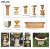 Sandstone Sculpture Carved Lighting Pedestal Flowerpot