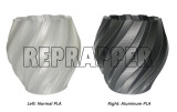 aluminum PLA compared with normal PLA