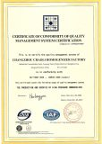 ISO quality system certificate