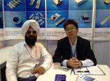 Mr.Guo with customers in show of magnet