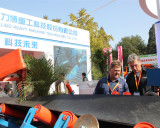 American clients visiting belt conveyor at Beijing trade