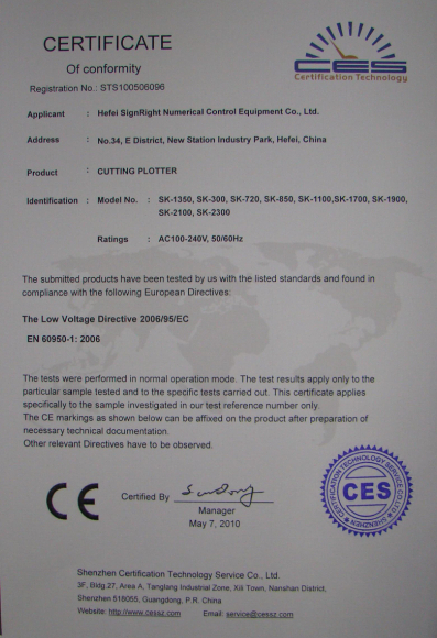 CE for Cutting Plotter