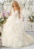 Mori Lee Custom Made Lace Satin Princess Ruffle Wedding Dress (Dream-100049)