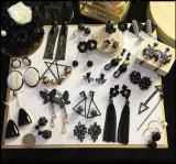 Big black diamond earrings