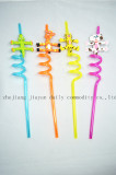 4pcs PVC animal character cartoon straw