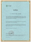 Authorized Certificate Of Generator Distributor to Malaysian Client