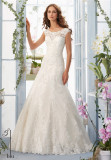 Lace Tulle Satin Cap Sleeves Mori Lee a-Line Wedding Dress (Dream-100064)