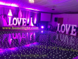 led starlit dance floor black with star curtain