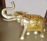 Polyresin Carving Golden Elephant Style Sandstone Sculpture Animal Statue