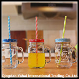 set transparent glass water jar with handle