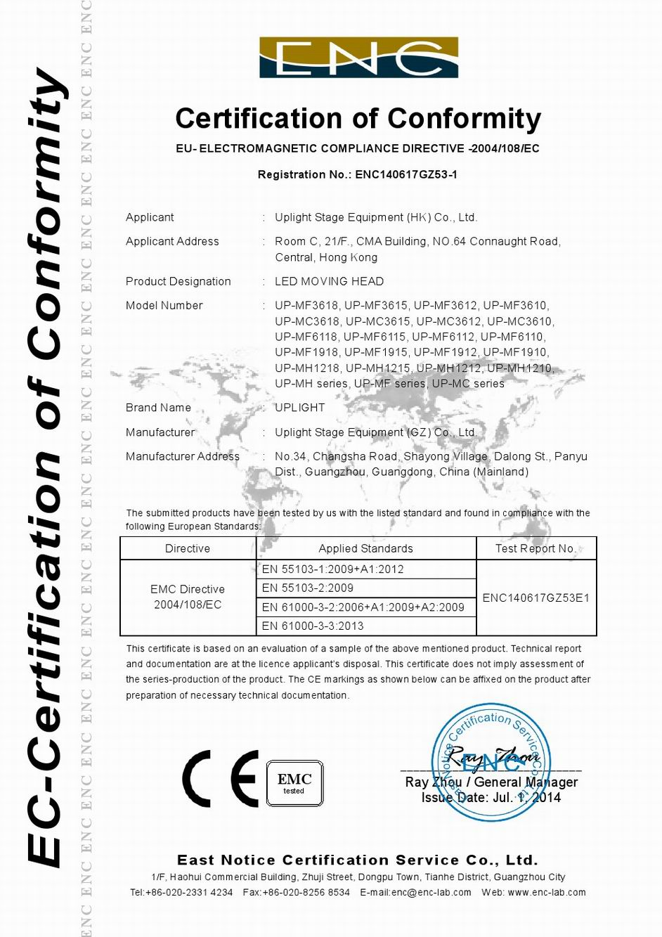 CE Certificate of Led Moving Head