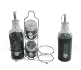 4PC Glass Canister Inner With Stainless Steel Casing Outer (TM183)