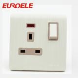 Aluminum plate brushed white switched socket