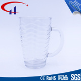 340ml Handle Glass Water Cup with Decorative Pattern (CHM8147)