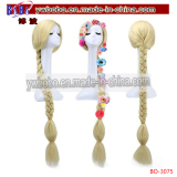 Rapunzel Cosplay Wig Long Straight Blonde Braid Synthetic Hair Women Wigs + cap