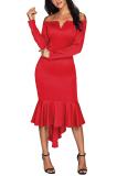 Red Off Shoulder Long Sleeve Mermaid Dress Makes You Look Stunning
