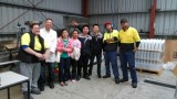 with customer pictures during installation filling line at customer factory