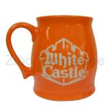 Stoneware Orange Etched Mug